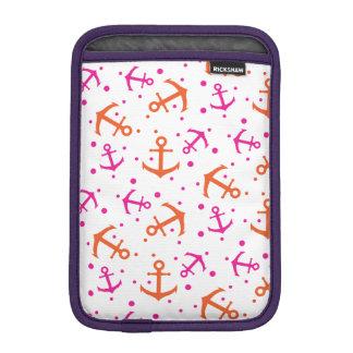 Nautical pink orange pattern iPad mini sleeve