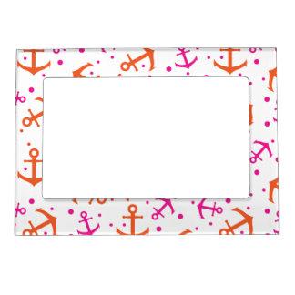 Nautical pink orange pattern magnetic frame