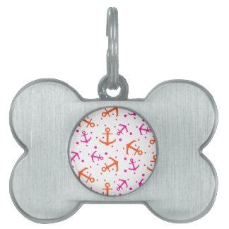 Nautical pink orange pattern pet tag