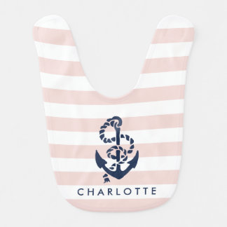 Nautical Pink Stripe Anchor Personalized Bib
