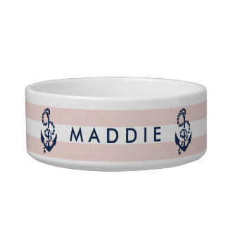 Nautical Pink Stripe Anchor Personalized Bowl