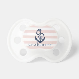 Nautical Pink Stripe Anchor Personalized Pacifiers