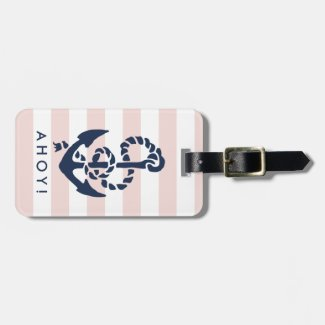 Nautical Pink Stripe Navy Anchor Personalised Luggage Tag
