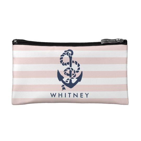Nautical Pink Stripe & Navy Anchor Personalised Makeup
