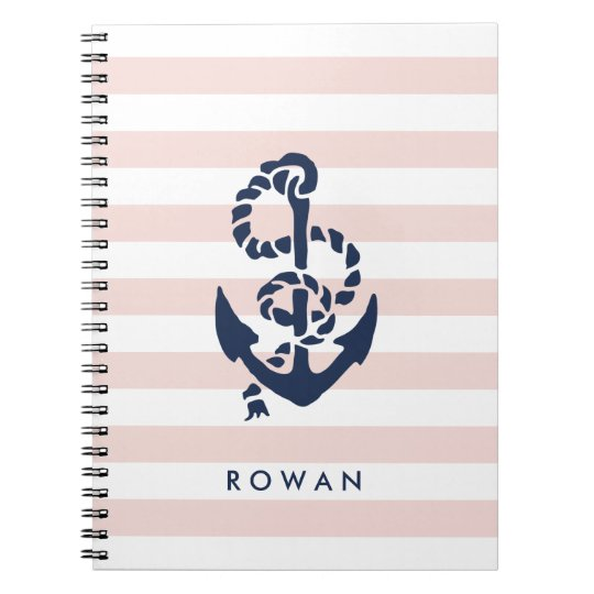 Nautical Pink Stripe & Navy Anchor Personalised Notebook