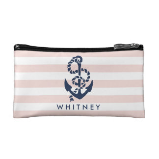 Nautical Pink Stripe & Navy Anchor Personalized Cosmetics Bags