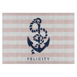 Nautical Pink Stripe & Navy Anchor Personalized Cutting Board