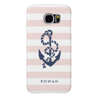 Nautical Pink Stripe & Navy Anchor Personalized Samsung Galaxy S6 Cases