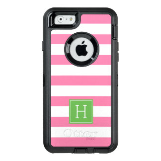 Nautical Pink Stripes and Green Monogram OtterBox Defender iPhone Case
