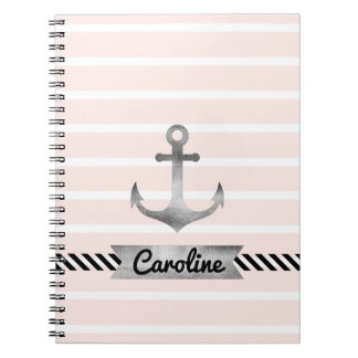 Nautical Pink Stripes Watercolor Anchor Custom Notebook