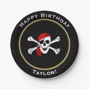 Nautical Pirate Happy Birthday with Name Paper Plate