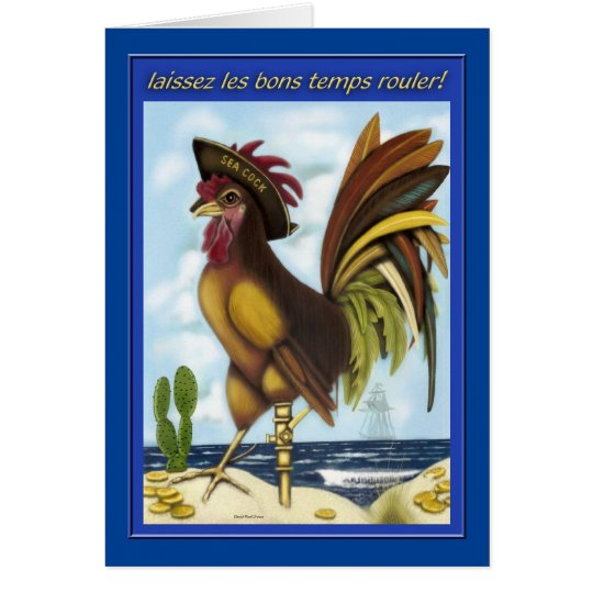 Nautical Pirate Rooster on Island greeting card