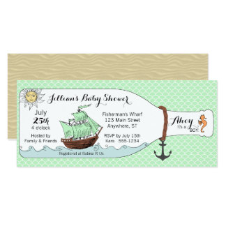 Nautical Pirate Ship in Bottle Baby Shower 10 Cm X 24 Cm Invitation Card