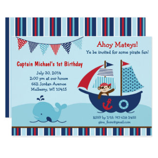 Nautical Pirate Whale 1st Birthday Card