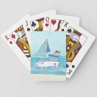 Nautical Playing Cards with Boat on Lake