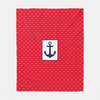 Nautical Polka Dots Fleece Blanket