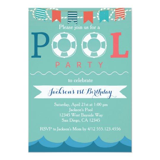 Nautical Pool Party Birthday Invitation