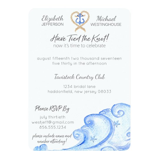 Nautical Post Wedding Party Invitation
