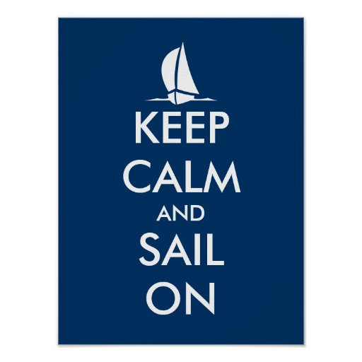 Nautical poster with ship   Keep calm and sail on