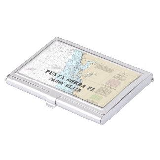 Nautical Punta Gorda Florida Latitude Longitude Business Card Holder