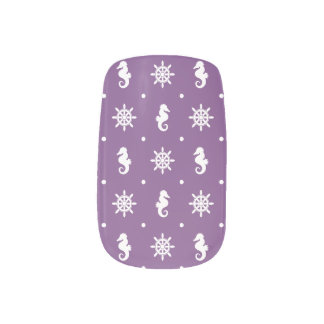 Nautical purple pattern minx nail art
