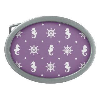 Nautical purple pattern oval belt buckles