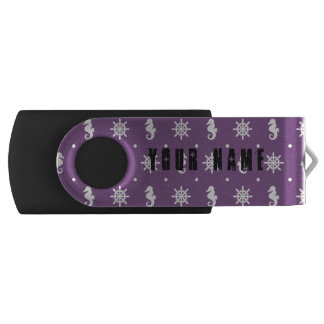 Nautical purple pattern USB flash drive