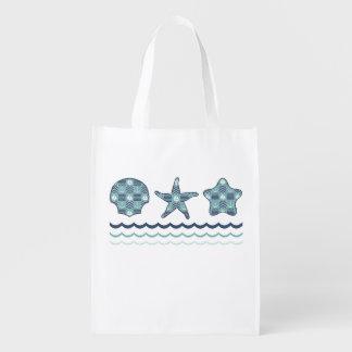 Nautical Quilt Reusable Grocery Bag