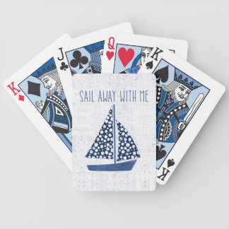 Nautical Quote   Sail Away With Me Bicycle Playing Cards