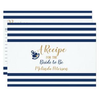 Nautical Recipe Card-Navy & Gold Card