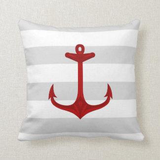 Nautical Red Anchor Gray White Stripes Throw Pillow