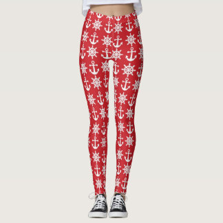 Nautical Red Anchor Leggings