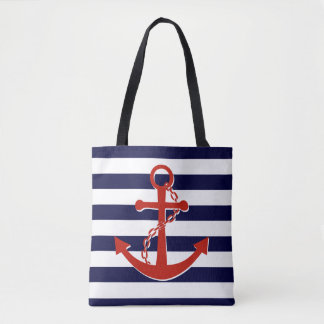 Nautical Red Anchor Navy Stripes Beach Tote Bag