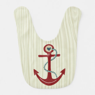 Nautical Red Anchor with Wood Background and Heart Baby Bibs