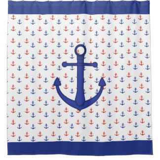 Nautical Red and Blue Anchor Shower Curtain