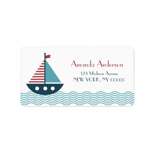 Nautical red and blue boat BABY SHOWER BIRTHDAY Address Label