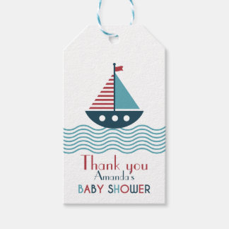 Nautical red and blue boat BABY SHOWER Gift Tags