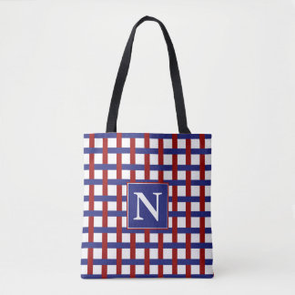 Nautical Red and Blue Plaid on White Personalized Tote Bag