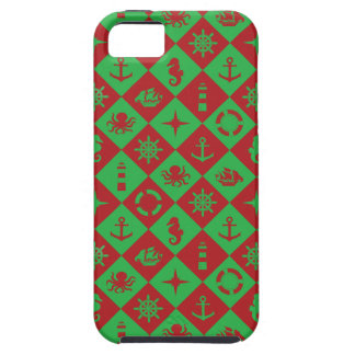 Nautical red and green iPhone 5 covers