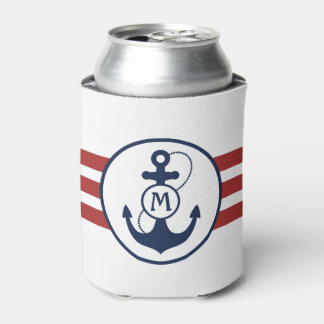 Nautical Red and Navy Blue Anchor Monogram Can Cooler