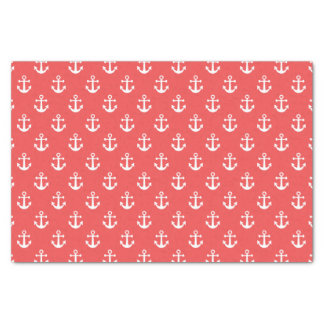 Nautical Red and White Anchor Pattern Tissue Paper