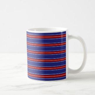 Nautical Red and White Stripes on Blue Basic White Mug