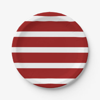 Nautical Red and White Stripes 7 Inch Paper Plate