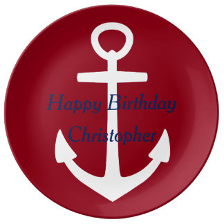 Nautical Red and White With Blue Happy Birthday Plate