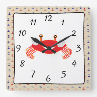 Nautical Red Blue Anchors  Crab Clock