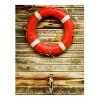 Nautical Red Life Ring Postcard