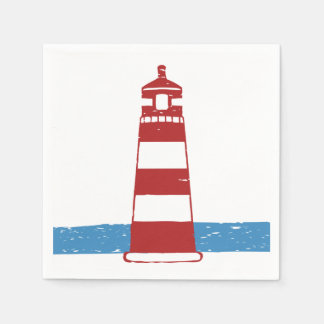 Nautical Red Lighthouse Blue Ocean Wedding / Party Paper Napkin