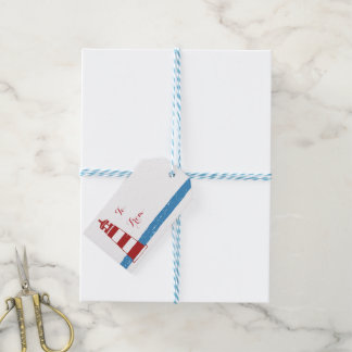Nautical Red Lighthouse Blue White Stripes Gift Tags