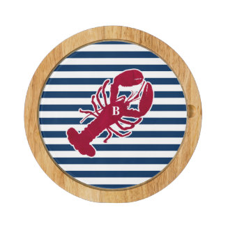 Nautical Red Lobster Monogram Blue White Stripe