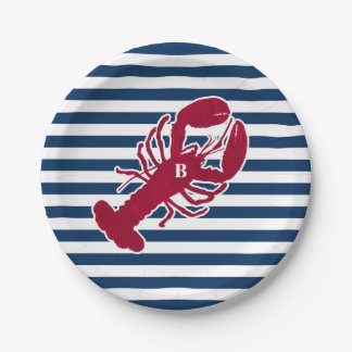 Nautical Red Lobster Monogram Blue White Stripe 7 Inch Paper Plate